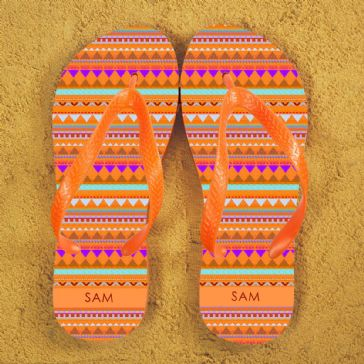 Aztec style Personalised Flipflops in Orange